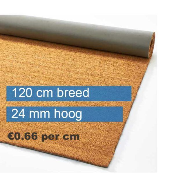 Kokosmat op rol 120 cm breed naturel 24 mm