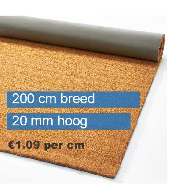 Kokosmat op rol 200 cm breed naturel 20 mm